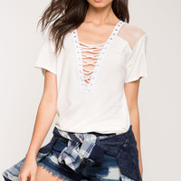 Fishnet Inset Lace Up Tee