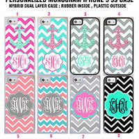 PERSONALIZED PINK CHEVRON ANCHOR MONOGRAM HYBRID DUAL LAYER CASE FOR IPHONE SE 5