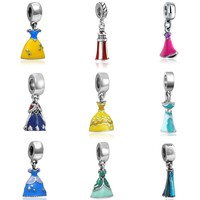 Fairy Tale All Princess Skirt Magic Dress Big Hole Charm Pendants DIY Silvering Beads Jewelry Accessories Fit Necklace Bracelet