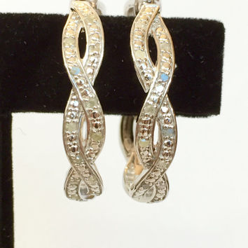 Diamond Hoop Earrings / Sterling Silver 1/3 CT Genuine Diamond / Bridal Wedding Drop Dangle Earrings / Antique Estate Summer Jewelry