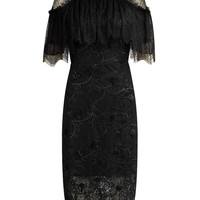 Black Cold Shoulder High Neck Cape Detail Lace Midi Dress