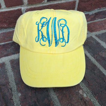 Yellow Glitter Monogram Hat