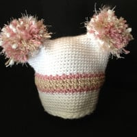 Soft and Fuzzy Square Baby Hat with Pom Poms and Sparkle Yarn - Size Preemie, Newborn, Baby, Toddler, Children