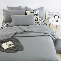 Summer Home bedding sets Zebra bed sheet and gray duver quilt cover pillowcase soft and comfortable King Queen Full Twin