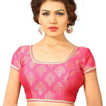 Saris and Things Pink Brocade Fancy Back Open Saree Blouse Choli SNT-X-358-PINK