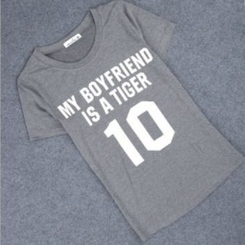 MY BOYFRIEND IS A TIGER 【Front】 printed hippie punk women's T-shirt
