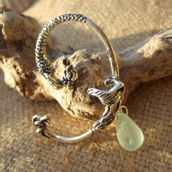 Siren song... Mermaid ear cuff with Scottish sea glass teardrop in sea foam ... antique silver ear jacket with sea glass mermaid's tear aqua