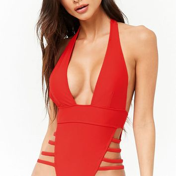 Plunging Open-Back One-Piece Swimsuit