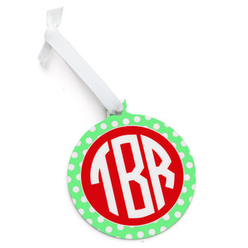 Monogrammed Lime Green Polka Dot Christmas Tree Ornament - Personalized Red Chevron Green Pink