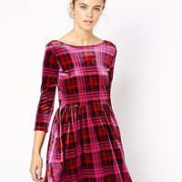 River Island Tartan Velvet Skater Dress at asos.com