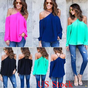 Fashion Womens Off Shoulder Casual Loose Tops Blouse Cut Out Long Sleeve T-Shirt