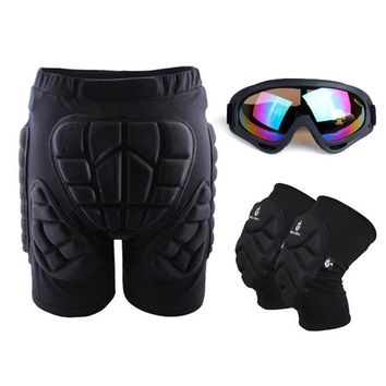 Unisex Outdoor Protective Gear Hip Pad Sports MTB Bike Skating Ski Padded Protection Shorts+Skate Sunglasses Eyewear+Knee Pads