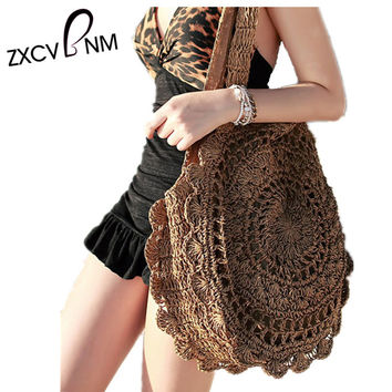 ZXCVBNM Summer Women Beach Bag Female Handbags Holiday Bohemian Straw Bag Summer Handbags Bolsas Women's Bags Travel Bags WH116
