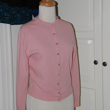 50s Cardigan, Pringle, Cashmere, Pale Pink, Scotland, Sweater, Button Front, Size 36