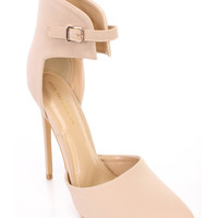 Nude Single Sole Pointed Toe High Heels Nubuck