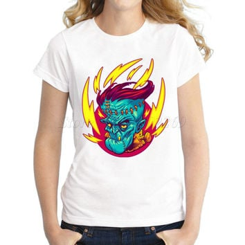 2017 hot sale Women's fire skull Printed customized T shirt lady halloween cloth casual slim tops zombie girl hipster tee