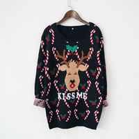 Fashion Fashion Fashion Cartoon Christmas deer Knit Sweater