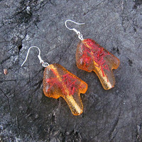 Transparent Earrings, Boho Resin Jewelry, Dried Flower, Irregular shape, Big Fashion Earrings, Orange Statement Jewel, 40th Birthday for her