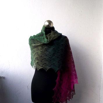 hand knitted merino lace stole, green and fuchsia knit scarf, knitted lace shawl