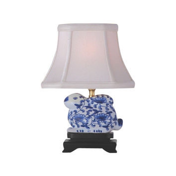 Blue and White Floral Pattern Bunny Figurine Table Lamp 11.5""