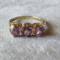 Vintage Gold Vermeil and Amethyst Ring Size 7.25