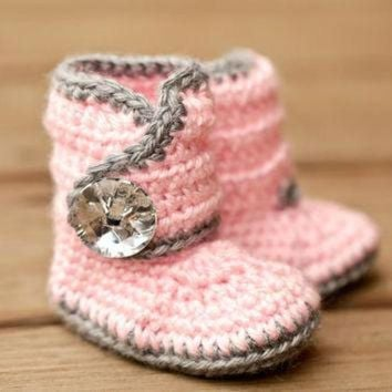CREY1O Crochet Baby Booties - Bling Baby Boots - Pink and Grey Baby Shoes - Gray and Pink Ba