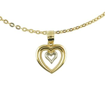 10k Two Tone Gold Double Open Heart Charm Necklace with Chain | Overstock.com Shopping - The Best Deals on Gold Necklaces
