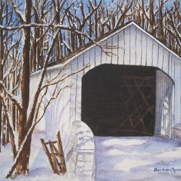 Covered Bridge White Snow Winter Art Print Painting Original Watercolor Barbara Rosenzweig Holiday Home Decor Gift Rustic Historic Americana