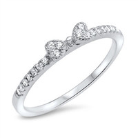 Sterling Silver CZ Simulated Diamond Ribbon 3MM Ring