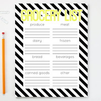 Grocery List Notepad Black and White Stripe Shopping List Note Pad Menu Meal Planning Kitchen Organizer Black and Yellow Weekly Planner