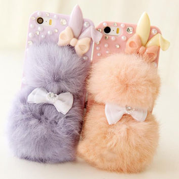 Fashion Winter warm Plush rabbit balls fur mobile phone case for iphone 5 5s 6s 4 4s protective case cover Free shipping FC-01