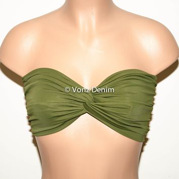 Olive Bandeau Top, Swimwear Bikini Top, Twisted Top Bathing Suits, Spandex Bandeau Bikini