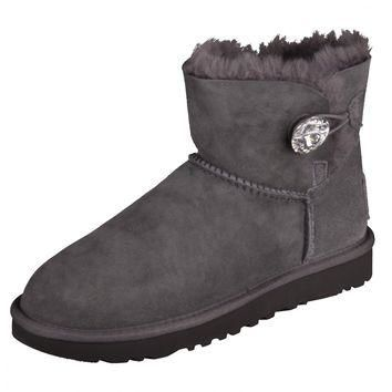 UGG W MINI BAILEY BOW BUTTON BLING GREY BOAT Winter Boots Shoes Grey