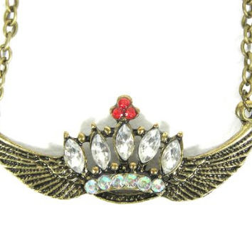 Crystal Crown Necklace Angel Wings Princess Queen NA09 Tiara Gold Tone Pendant Fashion Jewelry