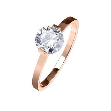 Rose Gold Adornment - Women's Stainless Steel Rose Gold Ion Plated Clear CZ Solitaire Engagement Ring