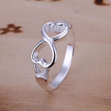Factory Price Silver Ring Endless Love Symbol Fine Fashion Double Heart Infinity Rings Jewelry for Women