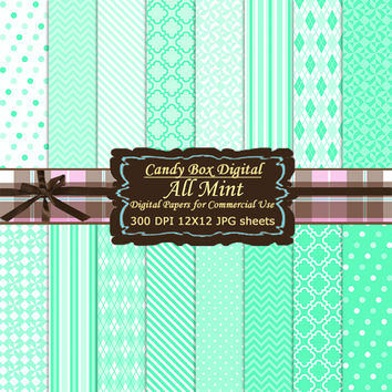 Mint Paper, Mint Digital Paper, mint scrapbook paper, digital Scrapbook Paper, Digital Scrapbooking Paper - Commercial Use OK