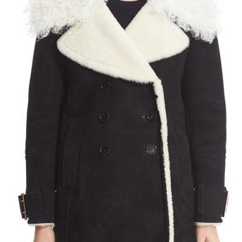 Burberry Norhurst Suede Coat with Genuine Shearling Trim | Nordstrom
