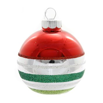 Shiny Brite HS DEC ROUNDS WITH FIGURES. Glass Ornaments Christmas 4027567S Red