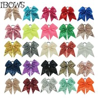 26 Colors 1Pc Fashion Big Sequins Grosgrain Cheer Bow WIth Elastic Hair Ties For Girls Softball Competition Bow