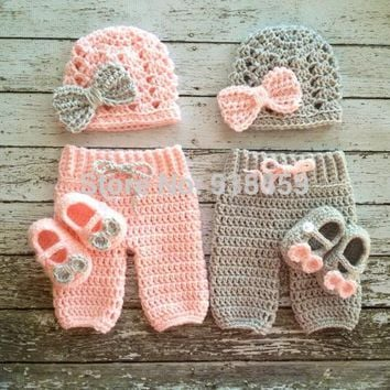 3pc Crochet Newborn Baby Girl, hat + pants + shoes Outfit Set