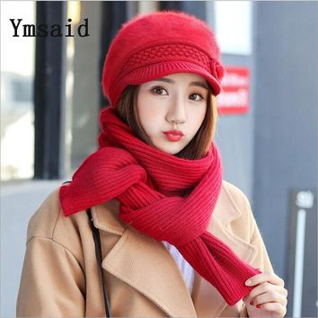 Women's Winter Hat Scarf Set Wool Knitted Hat Female Rabbit Fur Pompom Hats For Women Lady Bonnet Thick Warm Ski Cap Collar