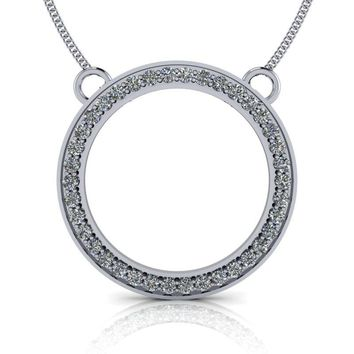 Mega Circle Pendant -14 kt Gold Moissanite Circle Necklace 1.14 ctw
