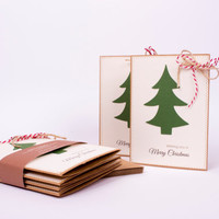 Christmas Tree Cards Set, Value pack Greeting cards QTY of 8 with matching envelopes
