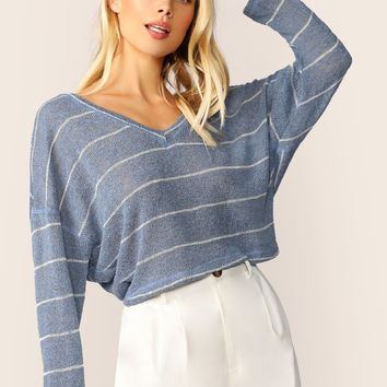 5a4f9a7ba V-Neck Boxy Fit Stripe Pullover Knit Sweater