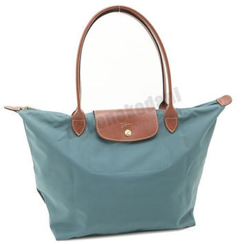 Longchamp Le Pliage Tote 1899 Shopping Bag Azure Blue Large