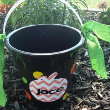 Halloween Bucket pail Pumpkin Chevron Personalize with child's name