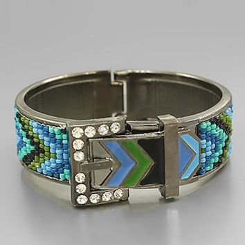 Chevron Buckle w/Seed Beads & Crystal Bracelet