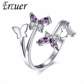 ERLUER Adjustable butterfly Crystal Wings Female Rings For Women Cross Heart love Jewelry Girls Wedding Bands Fashion Party Ring