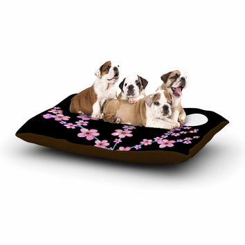"Julia Grifol ""Cherry Blossom At Night"" Pink Black Dog Bed"